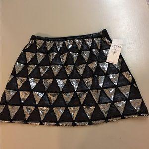 NWT Guess Sequins Girls Black Skirt L(14